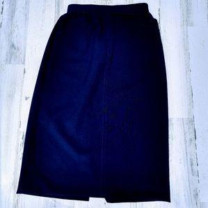 Vintage 70s Handsewn Navy Highwaisted Midi Skirt